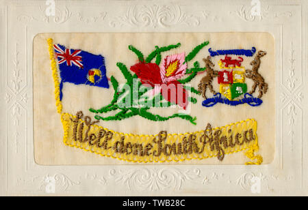 WW1 - 'Well Done South Africa' - During the First World War, Jan Smuts formed the South African Defence Force. His first task was to suppress the Maritz Rebellion by pro-German forces led by Colonel Maritz, commander of the frontier forces. Louis Botha carried out the campaign against the rebels but it was organised by Smuts who was Minister of Defence.     Date: circa 1914 - Stock Image