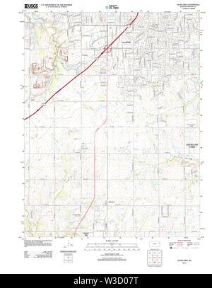 USGS TOPO Map Kansas KS Ocheltree 20120905 TM Restoration - Stock Image