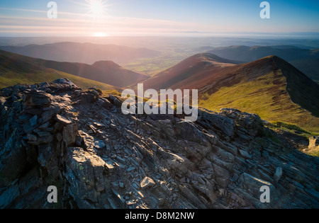 Looking towards Ladyside Pike and Hope Gill from the summit of Hopegill Head at sunset in the Lake District - Stock Image