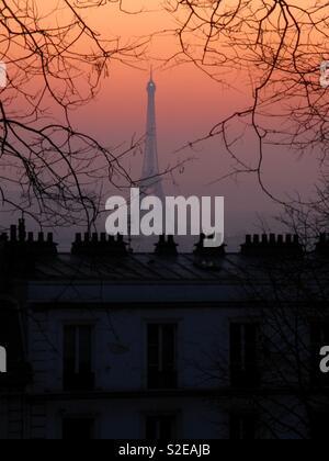 Eiffel Tower at sunset, Paris - Stock Image