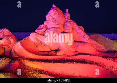 ANTALYA, TURKEY - SEPTEMBER 12, 2014: Sandland or Sand Sculpture Museum is an open air museum located at the Lara beach in Antalya city in Turkey - Stock Image