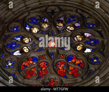 Barcelona, Catalonia, Spain. Chapel of Saint George. Interior view of the Rose window. 1536-1540. The Palau de la Generalitat. - Stock Image