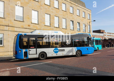 Bolton metro shuttle bus, service 500, provides a free circular route bus service linking key points around Bolton - Stock Image