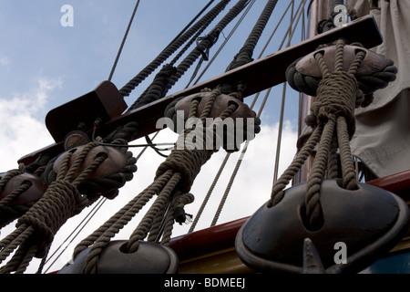 Ropes, ship, sailboat, Statenjacht, Utrecht - Stock Image
