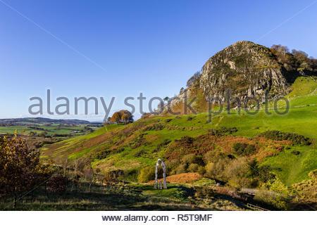 Loudoun Hill and The Spirit of Scotland Monument near Darvel, East Ayrshire, Scotland, United Kingdom. - Stock Image
