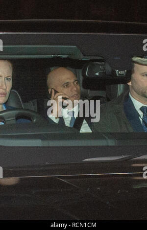 London, United Kingdom. 15 January 2019. Sajid Javid, Secretary of State for the Home Department departs the Houses of Parliament after Brexit vote. Credit: Peter Manning/Alamy Live News - Stock Image