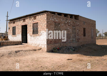 A basic house in a rural Bishnoi village in India. - Stock Image
