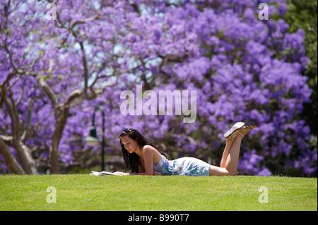 Girl reading in park - Stock Image