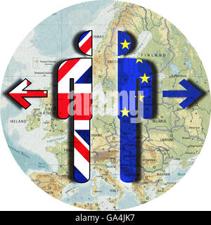 Brexit, Proposed referendum on United Kingdom membership in the European Union, divorce UK and EU, separation, ripped - Stock Image
