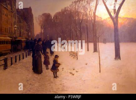 At Dusk, Boston Common at Twilight, Childe Hassam, 1885-1886, Museum of Fine Arts, Boston, Mass, USA, North America - Stock Image