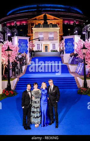 London, UK. 12th December, 2018. Cast at the European Premier of Mary Poppins Returns on Wednesday 12 December 2018 held at The Royal Albert Hall, London. Pictured: Lin-Manuel Miranda, Emily Mortimer, Emily Blunt , Colin Firth. Credit: Julie Edwards/Alamy Live News - Stock Image