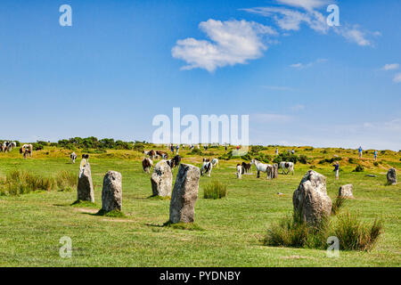 3 July 2018: Bodmin Moor, Cornwall, UK - The Hurlers stone circle near Minions, the highest village in Cornwall, with wild ponies grazing and people t - Stock Image