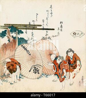Katsushika Hokusai, Lost-love shell (Katashigai), print, 1821 - Stock Image