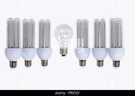 Series of new generation LED lamps with high brightness. White background and E27 socket. White background. - Stock Image