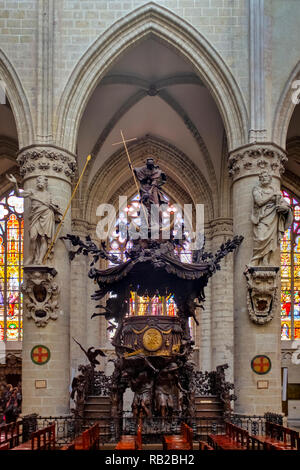 Baroque pulpit by Hendrik Frans Verbruggen in the  Cathedral of St. Michael and St. Gudula, Bruxelles, Belgium - Stock Image