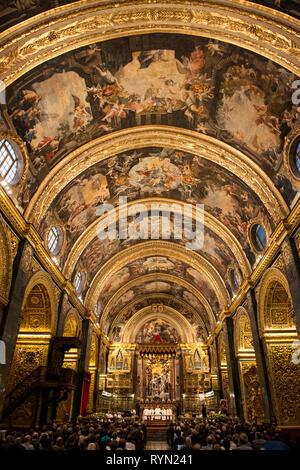 Mattia Preti interior at Saint Johns Co-Cathedral, Valletta, Malta - Stock Image