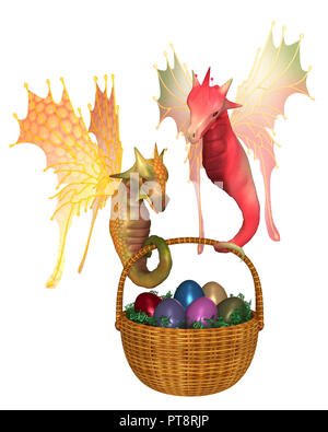 Cute Fairy Dragons Carrying a Basket of Easter Eggs - Stock Image
