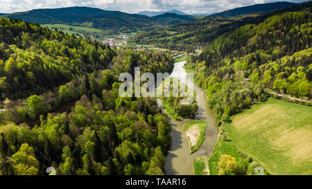 Poprad river flowing trough hills and forest. - Stock Image