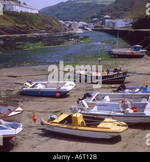 Boscastle Harbour and boats Cornwall UK - Stock Image