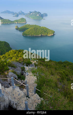 Hiking rocky hill natural trail in Ko Wua Talap island, Ang Thong national marine park, Thailand - Stock Image
