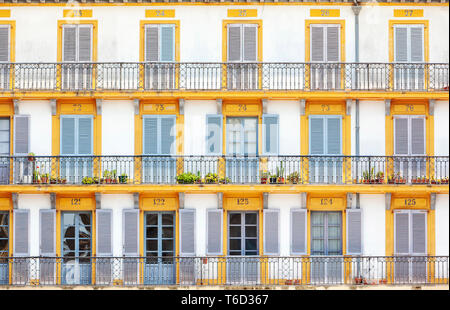 Spain, Basque Country, San Sebastian (Donostia), Plaza de la Constitucion, close up of typical balconies - Stock Image