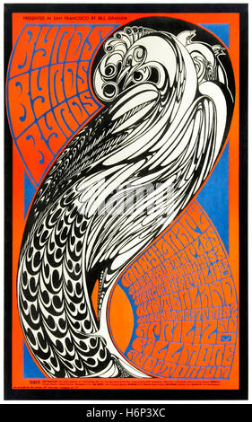 Psychedelic poster for The Byrds 1967 concert at the Fillmore Auditorium, San Francisco, USA designed by Wes Wilson. - Stock Image