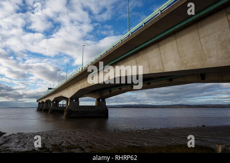 Severn Bridge, also known as the Prince of Wales Bridge, carrying the M4 motorway from Gloucestershire in England to Gwent in Wales - Stock Image