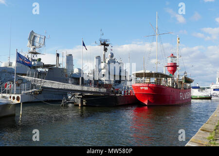 The lightship Fladen in the Maritiman maritime museum in Gothenburg - Stock Image