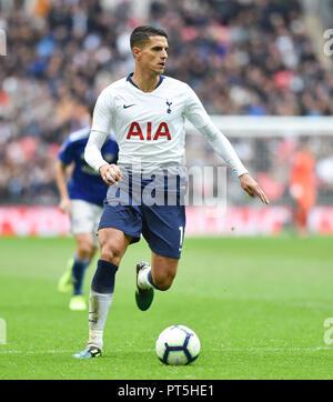 Erik Lamela of Spurs during the Premier League match between Tottenham Hotspur and Cardiff City at Wembley Stadium , London , 06 October 2018 - Stock Image