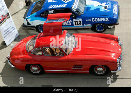Aerial view of a beautiful red 1954 Mercedes-Benz  300SL Gullwing  which will be for sale in the 2029 Silverstone Classic Car Auction - Stock Image