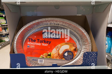 Bacofoil Turkey roasting tray on sale in a British Supermarket in the run up to Christmas. - Stock Image