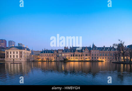 The Hague Netherlands Parliament buildings and the Mauritshuis Maurits House Museum. - Stock Image