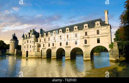 The Chateau de Chenonceau designed by French Renaissance architect Philibert de l'Orme 1555 by  to span the River Char. Loire Valley. Chenonceaux,  In - Stock Image