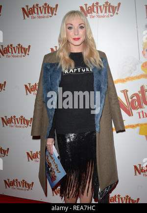 Celebrities attend 'Nativity! The Musical' Press Night held at the Hammersmith Apollo theatre  Featuring: Helen George Where: London, United Kingdom When: 20 Dec 2018 Credit: WENN.com - Stock Image