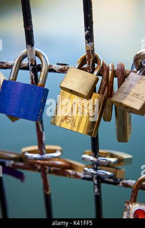 Love padlocks at Seine River - Stock Image