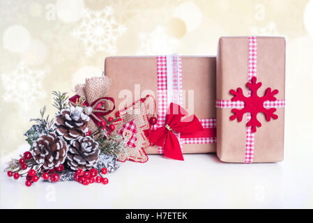 Christmas decoration and gifts on abstract background - Stock Image