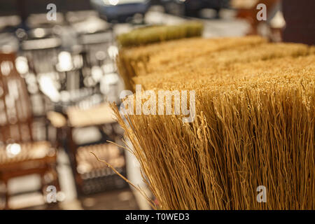 handmade brooms for sale at Peaceful Valley Furniture, Amish Country, Intercourse, Lancaster County, Pennsylvania, USA - Stock Image