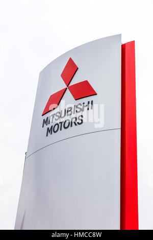 Mitsubishi Motors dealer dealership sign car sales car dealer emblem - Stock Image