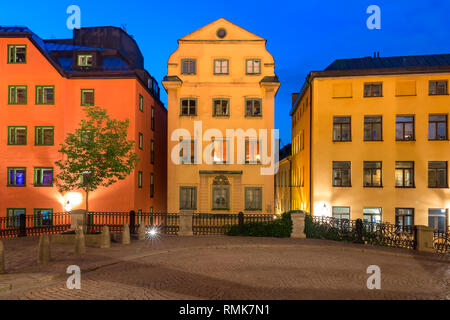 Night street in Gamla stan in Old Town of Stockholm, the capital of Sweden - Stock Image