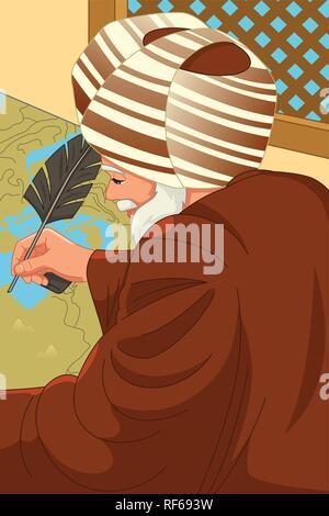 A vector illustration of Al-Idrisi Muslim Geographer - Stock Image