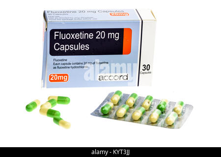 Fluoxetine tablets anti-depressants used in the treatment of depression - Stock Image