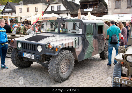 Willys at Rally VI military vehicles from World War II in Kazimierz Dolny, antique army cars event at the Market - Stock Image