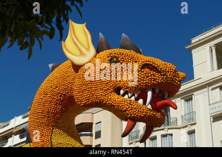 A dragon head made with lemon and orange at lemon festival i(Les mondes fantastiques) in Menton (French Riviera) . February 2019 - Stock Image