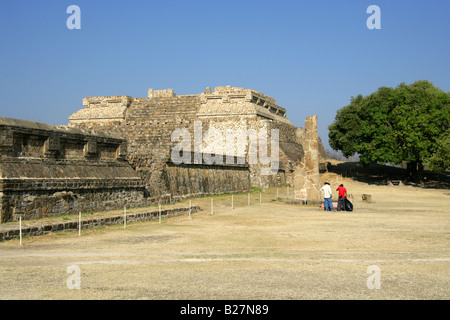 System IV or Building K and Stela 18, Monte Alban, Oaxaca, Mexico - Stock Image