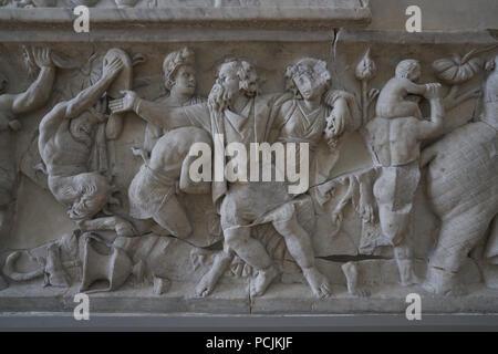 pahsley sarcophagus  fitswilliam museum cambridge silenus - Stock Image