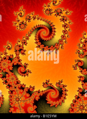 Two fractal spirals play off against each other - Stock Image