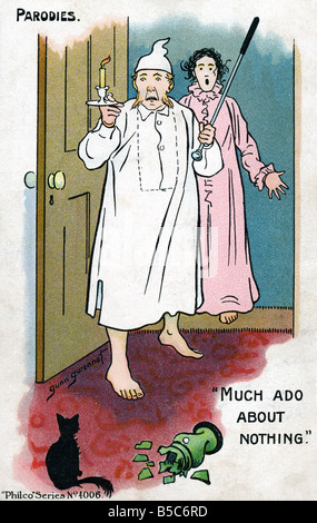 1900s Edwardian Comic Art Postcard Parody Much Ado about Nothing EDITORIAL USE ONLY - Stock Image