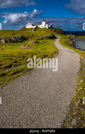 Picturesque Strathy Point Lighthouse Near Thurso At The Atlantic North Coast Of Scotland - Stock Image