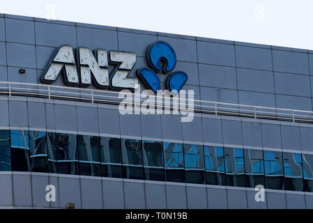 The logo for the Australia and New Zealand Banking Corporation otherwise known as the ANZ bank in Sydney Australia - Stock Image