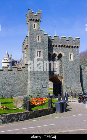 28 March 19 The outer fortified wall of the privately owned Killyleagh Castle in County Down Northern Ireland. The castle has the architectural style  - Stock Image